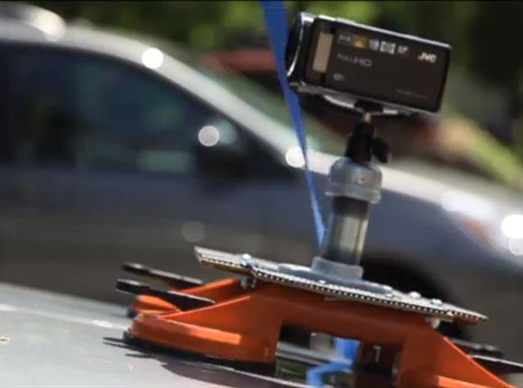 camera mounted on a slanted surface