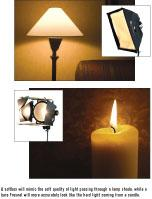 A lamp and a candle, with the associated video light to create their same light cast
