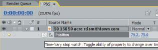 Press P to bring up the position properties. Then, set a keyframe by clicking the stopwatch icon