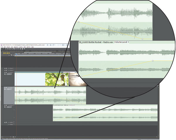 By using keyframes, audio clips can fade in and out according to your production.