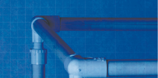 Image of a PVC frame with a blueprint grid in the background