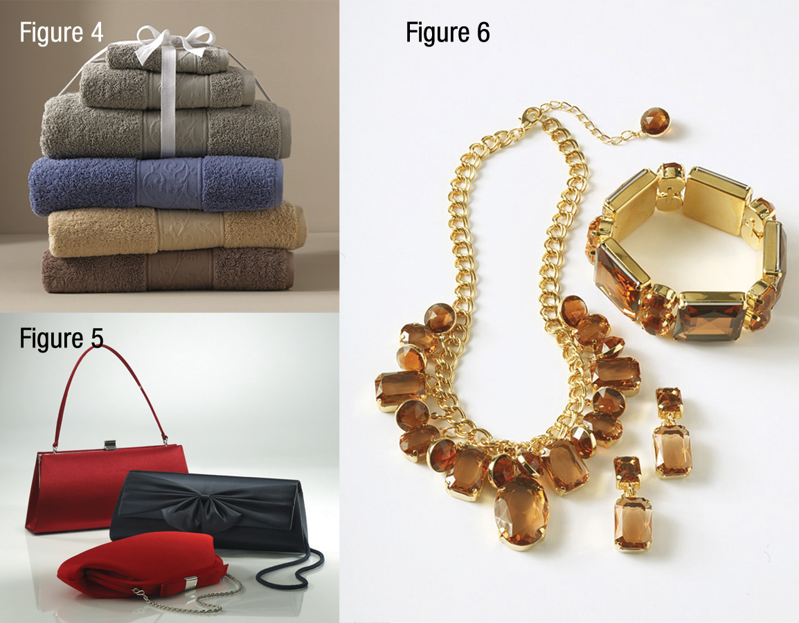Set of colorful bath towels, [Fig. 1], red and black handbags, [Fig. 2] and topaz and gold jewelry [Fig. 6]