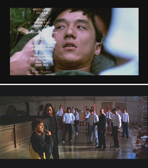 Comedian/actor/stuntman Jackie Chan on a stretcher and a clip from one of his movies.