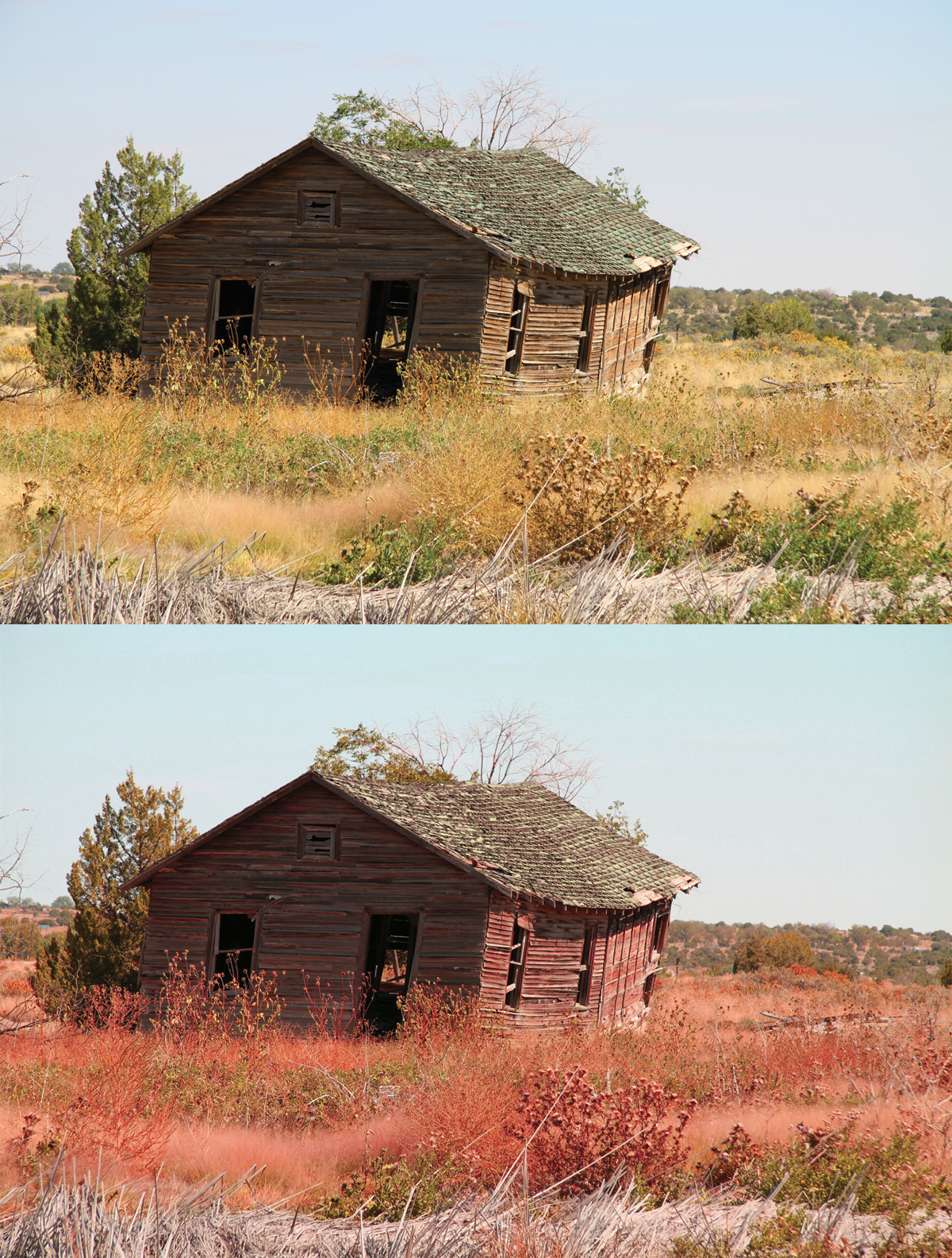 Two images of a barn, one with off-balanced color