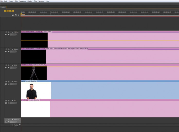 An Adobe timeline with three adjustment layers laid across the video.