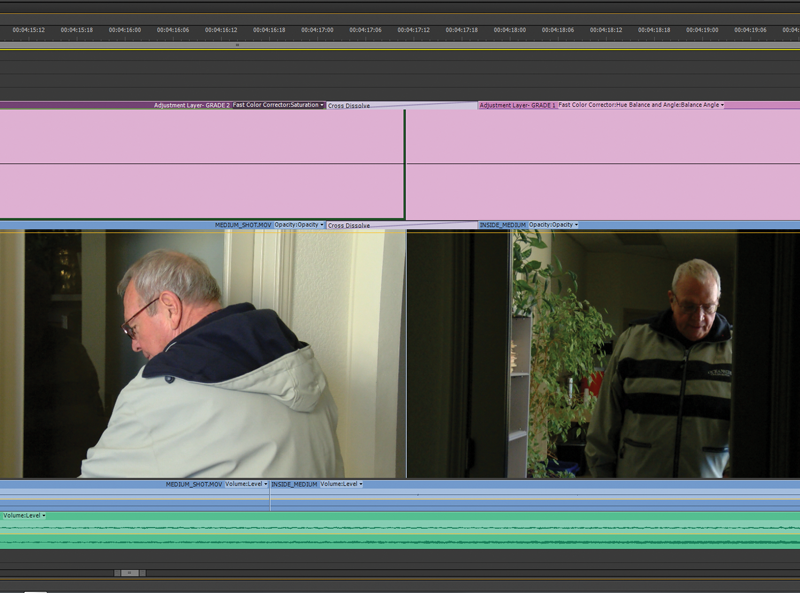 Side-by-side shot of a scene with mixed lighting that is fixed with color correction on an adjustment layer.