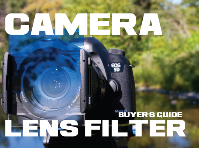 Photo of a blue lens filter on a Canon DSLR