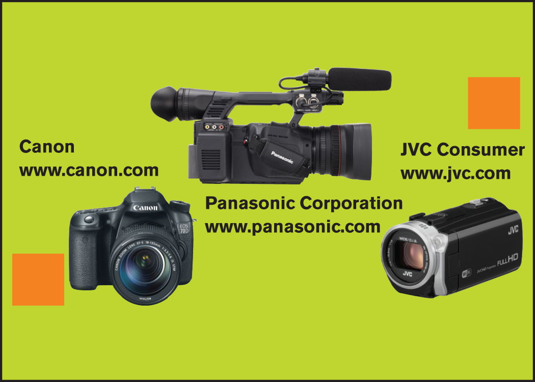 Canon, Panasonic and JVC camcorders