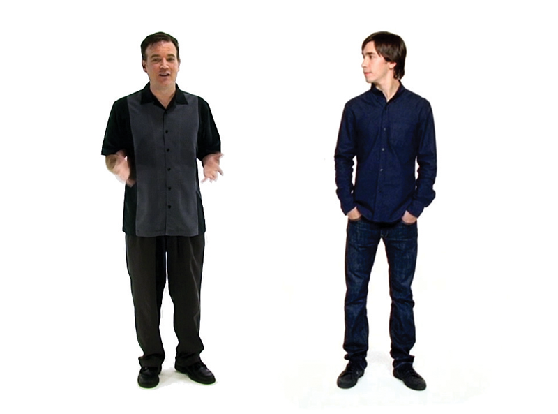 A side by side freeze-frame of our writer and an actor from a TV commercial seeming to be in the same endless white scene.