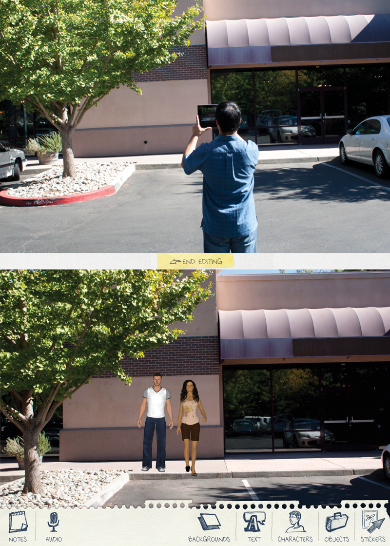 Producer taking a photo using a tablet next to a screen capture of the photo with animated people placed in for shot setup.