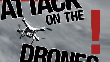 DJI Phantom helicopter with a GoPro camera flying in the sky