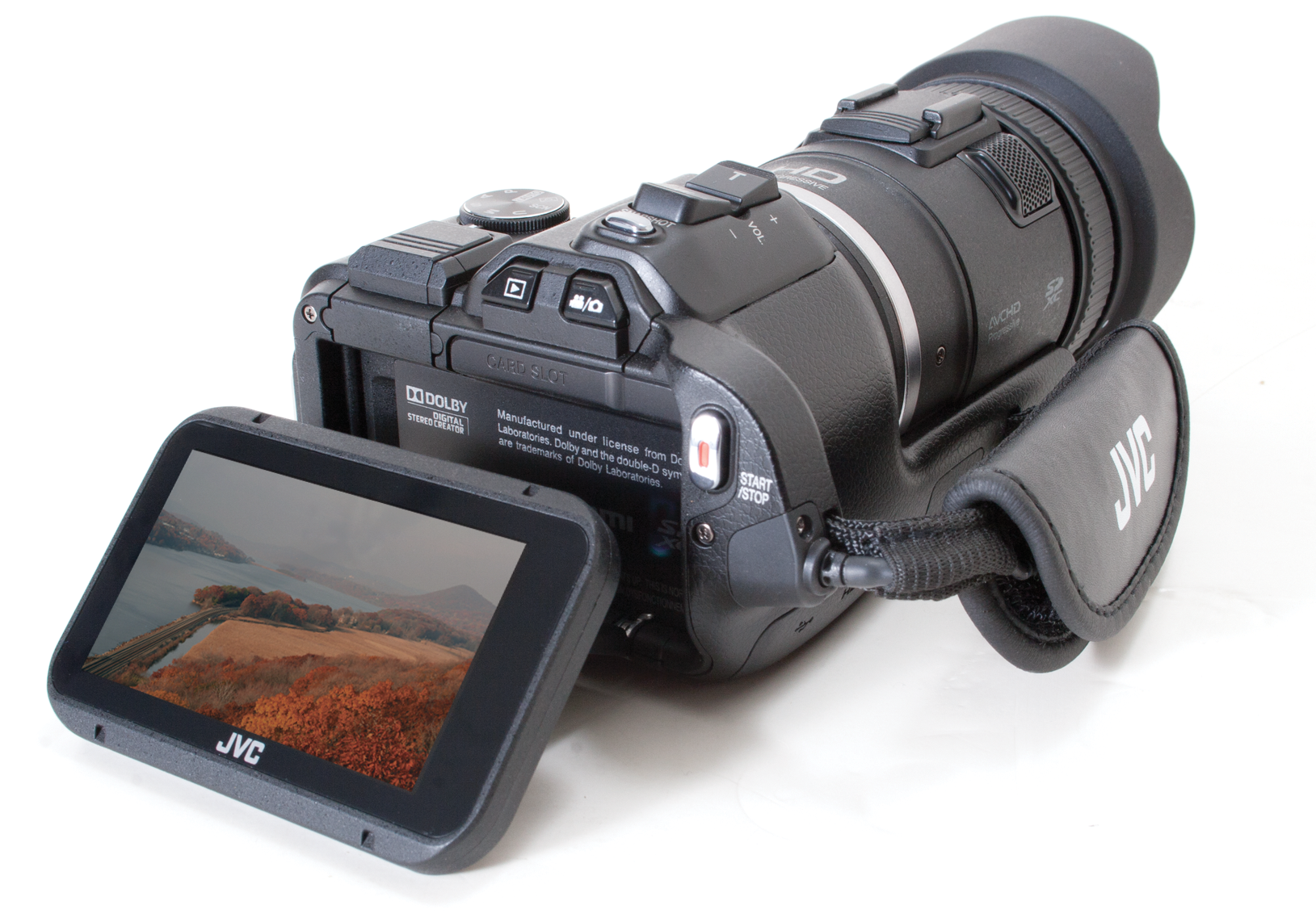 Rear view of JVC GC-PX100 camcorder