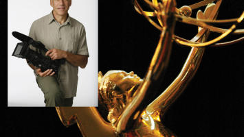 Close up of an Emmy statue
