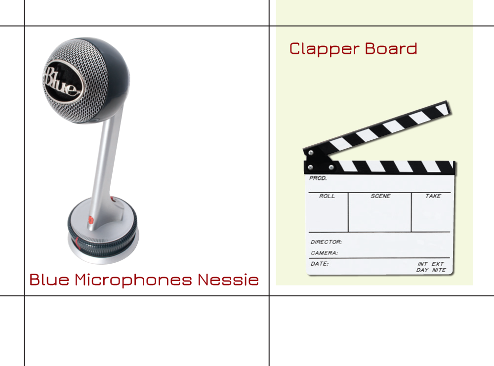 Blue Nessie and clapper board
