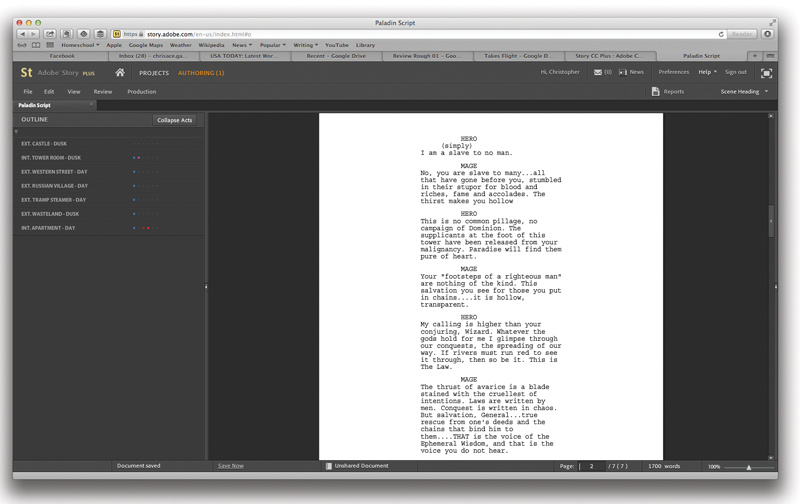 Adobe's Creative Cloud script writing program, Story CC Plus.