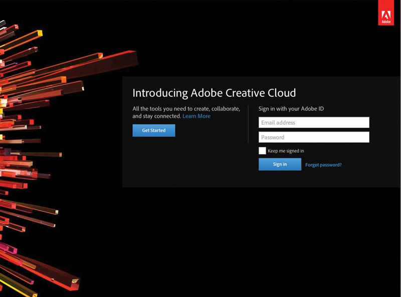 Adobe Creative Cloud login page