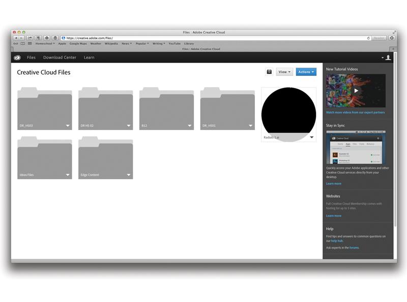 Adobe Creative Cloud file storage
