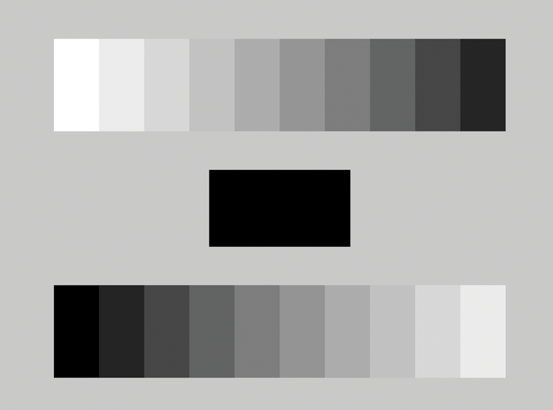 Graphic showing gradations from white to black and black to white.