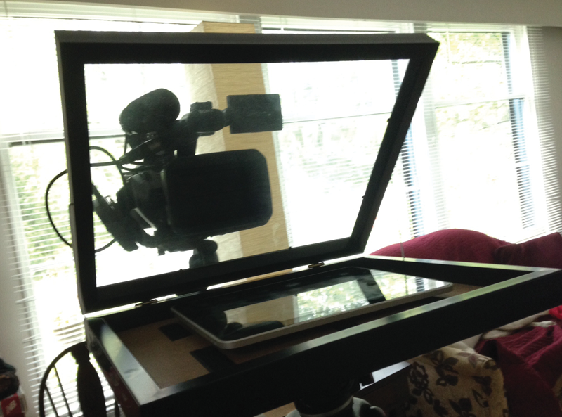 Photo of teleprompter set up