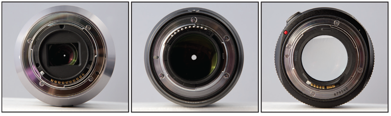 Three photos of the back of a lens showing the camera mounts.