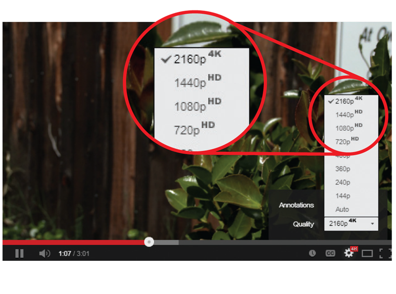 Screen capture showing various 4K and HD format options for streaming.