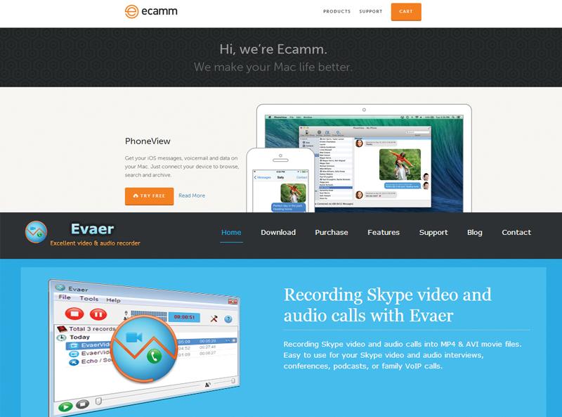 Screenshot of Ecamm and Evaer web sites.