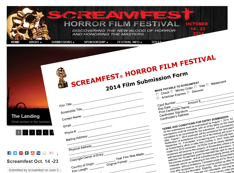 Screen grab of Screamfest Film Festival with a Submission Form for the festival on top of it.