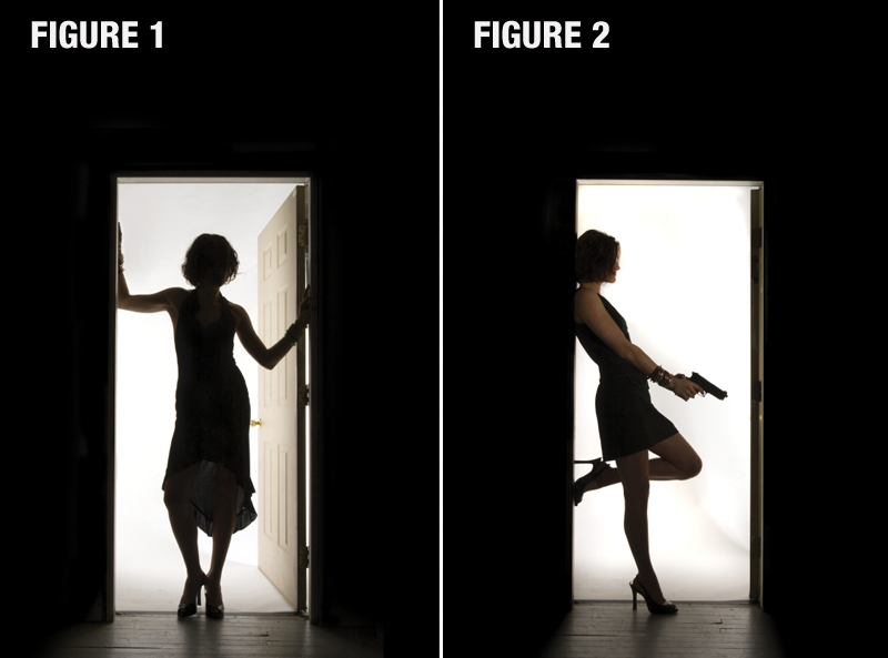 Two photos of a woman standing in a doorway, labeled figure 1 and 2. Figure 1 has her back to the camera figure 2 has her sideways to camera with gun in her hand.