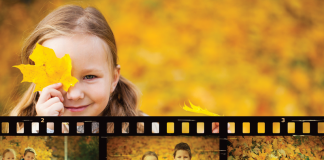 Photo montage of children in fall