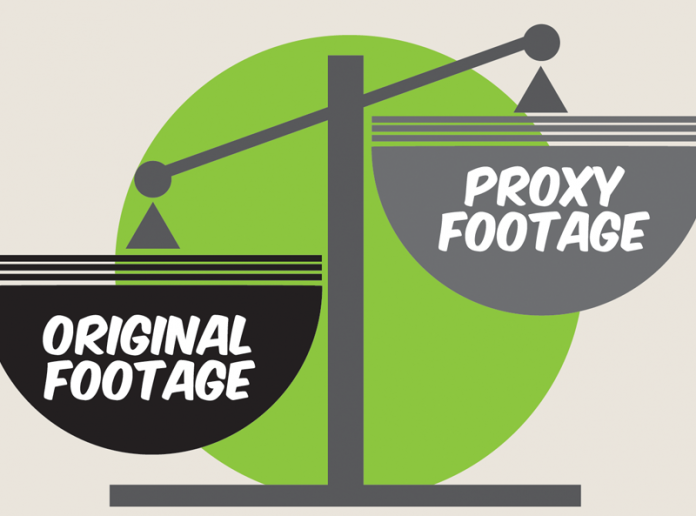 Image of a scale comparing original with proxy footage.