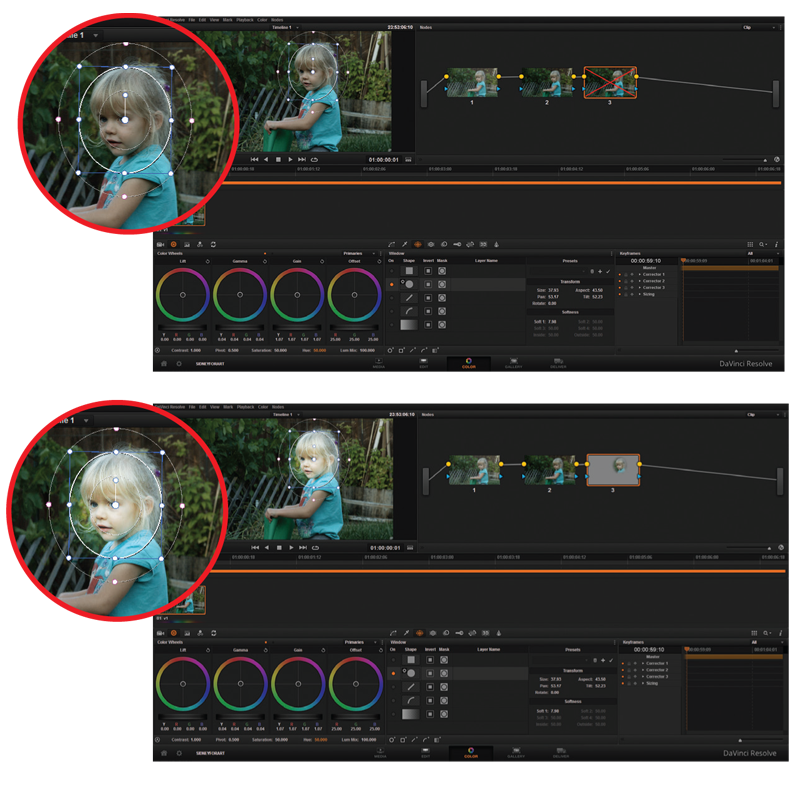 Applying an oval mask allows the video editor to subtly brighten only a portion of the frame, highlighting the subject's face.