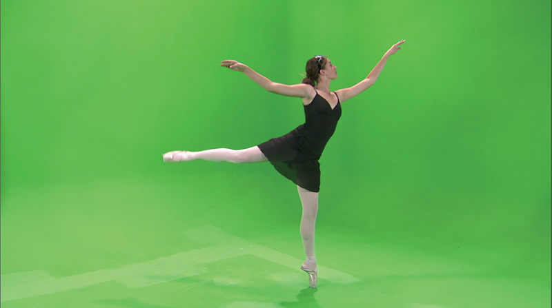 Screen grab of Adobe After Effects, Keylight, of a ballet dancer with green screen background.