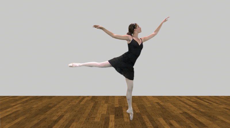 Screen grab of Adobe After Effects, Keylight, of a ballet dancer showing final key.