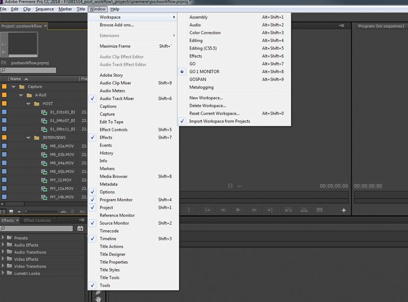 Screen grab of workspace layout menu.