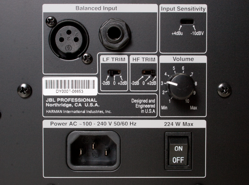 View of JBL LSR308 3 Series Studio Monitor inputs and control panel.