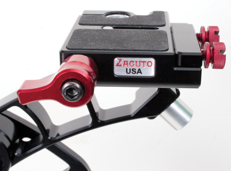 Closeup of the Zacuto Marauder camera mounting platform.