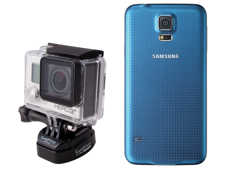 Samsung mobile phone and the GoPro Hero 3+ side-by-side.