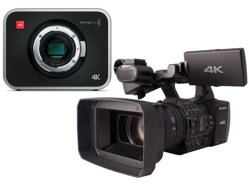 Blackmagic Design's 4K cinema camera and Sony's FDR-AX100 4K camcorder side by side.