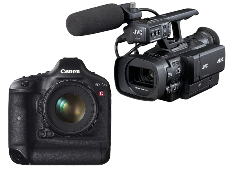 JVC GY-HMQ10 and Canon EOS-1D C side by side.
