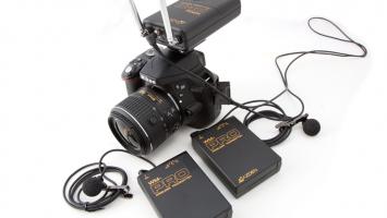 Azden WDL-Pro Receiver/Transmitter shown on Nikon D300 camera