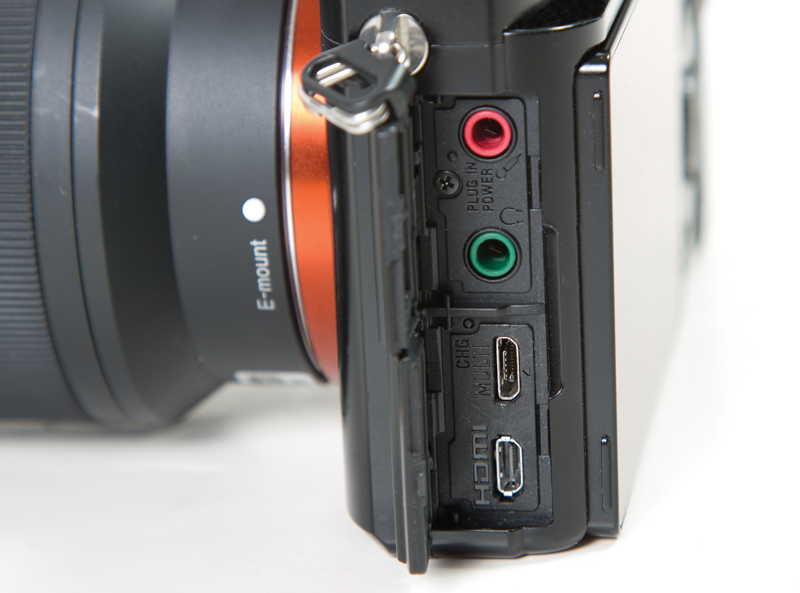 Showing I/O ports on the Sony Alpha 7 DSLR: Micro HDMI, Micro USB, Headphone and External Microphone