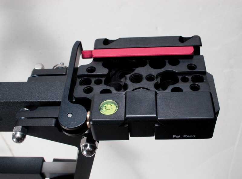 Mounting platform has options for various size camera mounts.