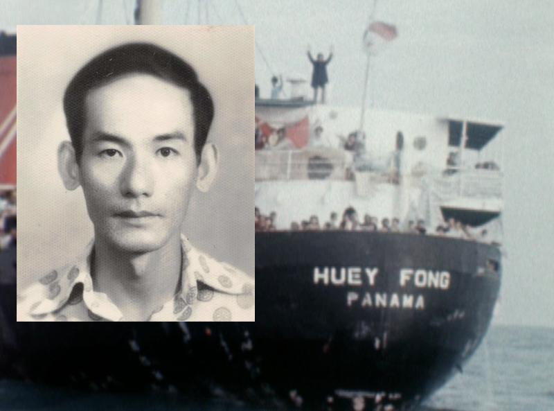 Young Sriracha founder, David Tran, and the Vietnamese ship containing the namesake of his company