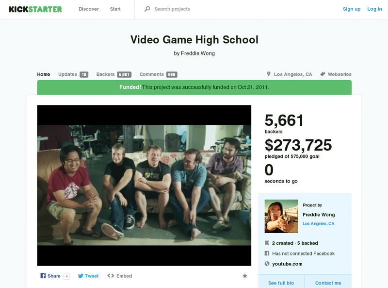 Screen grab of Kickstarter.com