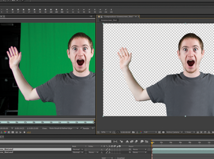 Screen grab of Adobe After Effects showing Roto process.