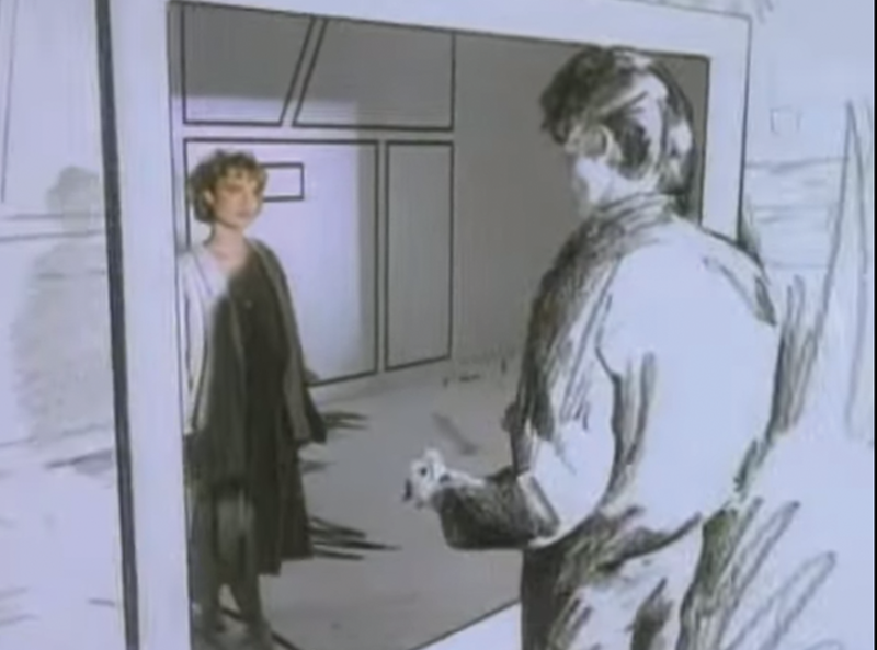 Screen grab of A-Ha's music video Take On Me