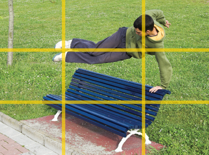 A grid overlay on the camera display showing the rule of thirds.