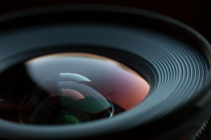 Close up of the glass of a camera lens