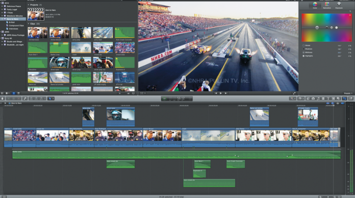 Screen capture of the Apple Final Cut Pro X 10.1 editing program