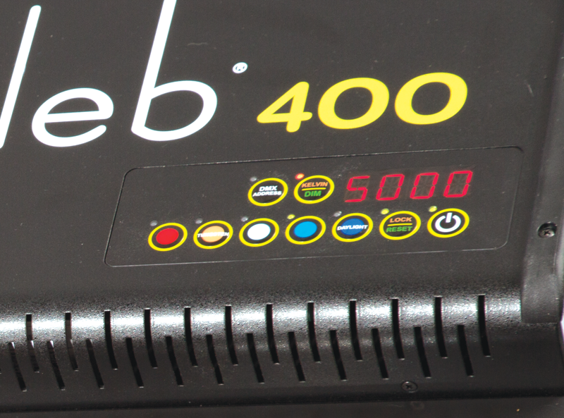 Close up of the rear controls and the digital readout on the back of the Kino Flo Celeb 400.